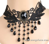 Gothic Choker Necklace/Gothic Jewelry/Steampunk Necklace/Beaded Choker/Victorian Necklace/Vampire Necklace/Gothic Decor/Lace Choker/LN-28-BL