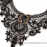 Black Lace Choker Necklace/Lace Choker Collar/Sexy Choker/Black Wide Choker/LN-27-BL
