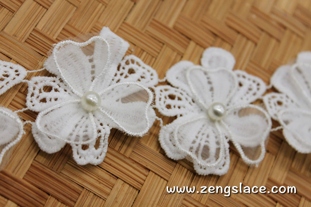 Floral Lace Trim/3D Flower Lace/Off-white Lace/Unique Bridal Lace/Wedding Lace by the yard/DL-18