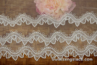 Lace trim with scalloped edge/Sweater Lace/Layered Lace/off-white lace fabric by the yard/EL-84-OW