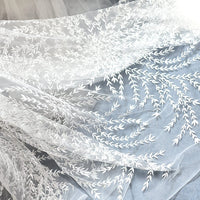 Off-White Lace Fabric Embroidered with Branches and Leaves/Lace Wedding Dress/Boho Wedding Dress/Boho Dress/Evening Dress/Prom Dress/FL-46