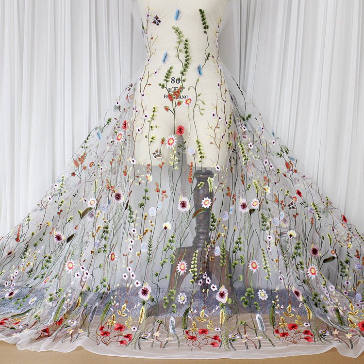 Floral Lace Fabric/Luxury Gown Lace Fabric with Embroidery/Unique ...
