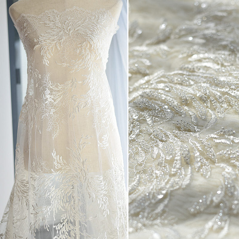 Wedding Dress Fabric.Beaded Bridal Lace Fabric With Floral Pattern Embroidery Lace Wedding Dress Prom Dress Fabric Unique Bridal Lace Evening Dress Fl 60