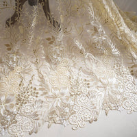Embroidered Lace Fabric/Prom Dress Fabric/Evening Dress/Lace Wedding Dress/Unique bridal lace fabric/Floral lace fabric/Gold lace/FL-67