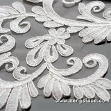 Alencon Lace Applique Pair/Wedding applique/Bridal applique/Priced for a pair of two/ALA-26