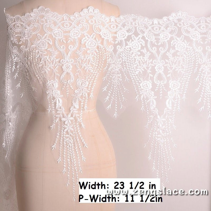 Bridal Lace Trim/Off-White Lace Trim/Off-White Alencon lace trim/Boho Wedding Dress Lace/Lace Wedding Dress/Bridal Veil Lace Trim/AL-20