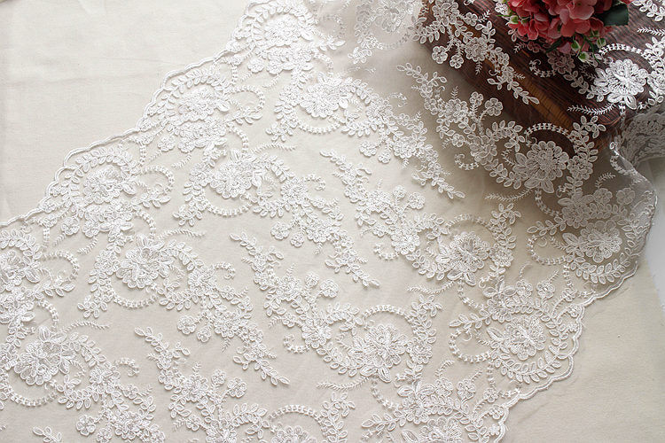 Off-White Sequin Lace Fabric/Bridal Lace with Sequin/Wedding Dress ...