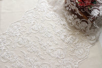 Off-White Sequin Lace Fabric/Bridal Lace with Sequin/Wedding Dress Lace/Prom Dress Fabric/FL-81