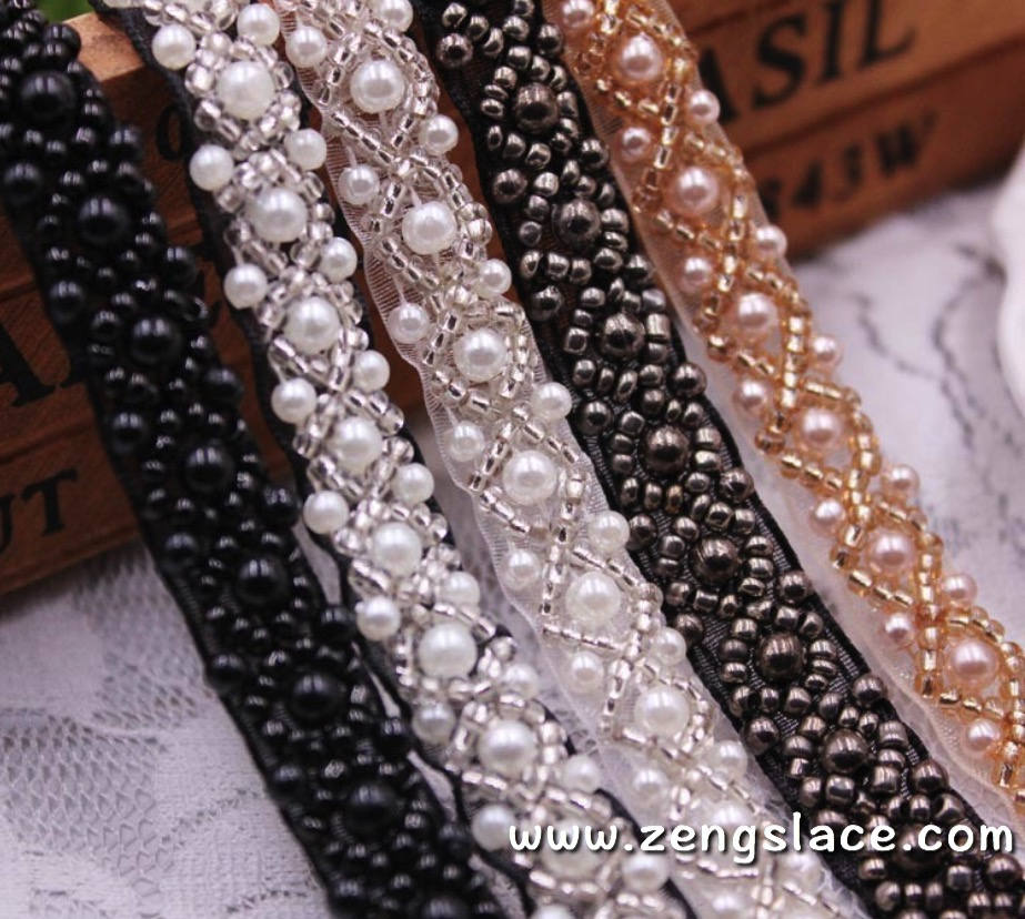 pearl beaded Trim/bridal sash trim/jewelry trim/pearl beading trim/luxury trim/heavy beading trimming/bead strip/DL-23
