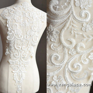 Off white Lace Wedding Dress applique/Alencon lace applique/Boho Wedding Dress/Beaded lace applique/Bridal applique/Prom Dress/ALA-32