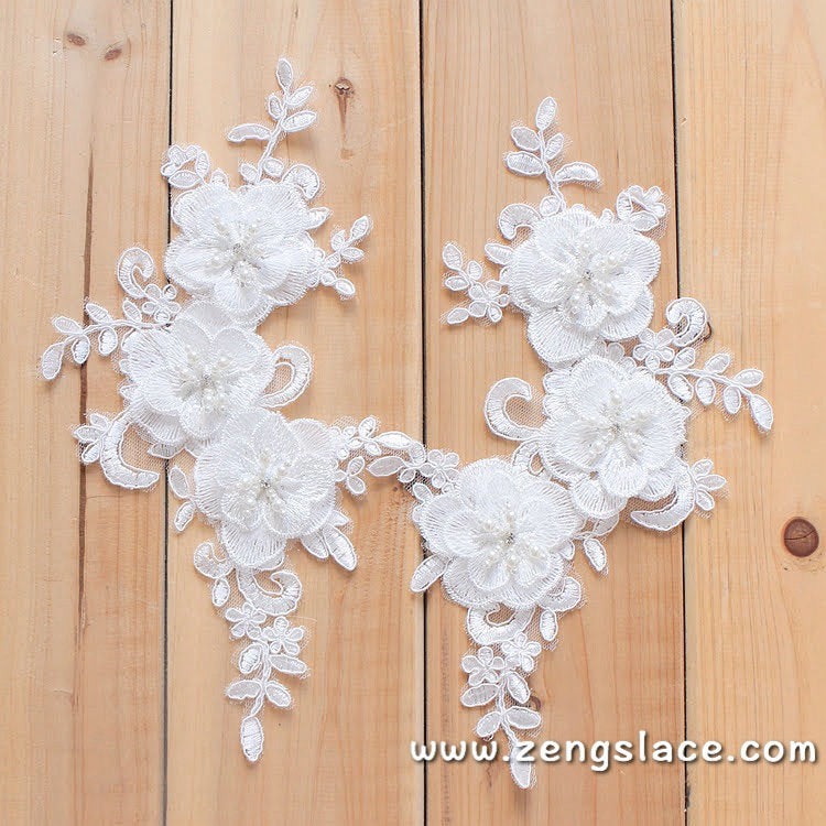 Off-white Alencon lace applqiue Pair with flower/Bridal Applique/priced for a pair of 2/ALA-37