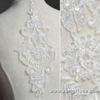 Off-white Alencon Lace Applique /Wedding applique/Bridal applique priced for one piece/ALA-46