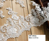 Off-white Alencon lace trim/Bridal Lace Jacket/Wedding Lace/Bridal Gowns Lace by the yard/AL-50