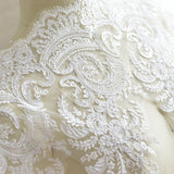 White Alencon lace with floral embroidery/Bridal Lace Jacket/Lace Fabric by the yard/AL-51