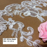 Off-White Sequin Alencon lace/Regency Dress Lace/Motif Lace/Bridal Lace by the yard/AL-56