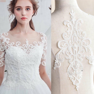 Bridal Lace Applique/Off-white Alencon Lace Applique/Boho Wedding Dress Applique/Prom Dress Applique/Luxury applique/ALA-08