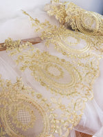 Ivory Alencon lace trim/Wide Lace Trim/Regency Dress Lace/Motif Lace by the yard, AL-02