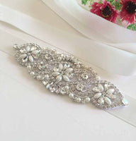 Bridal Belt/Bridal Sash/Wedding Dress Belt/Wedding Belt/Rhinestone Applique/Wedding Sash/Rhinestone Belt/Beaded Belt/RA-05