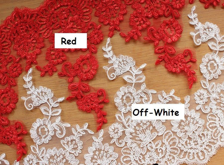 Bridal Lace Trim/Off-White Lace Trim/Off-White Alencon lace trim/Boho Wedding Dress Lace/Lace Wedding Dress/Bridal Veil Lace Trim/AL-65
