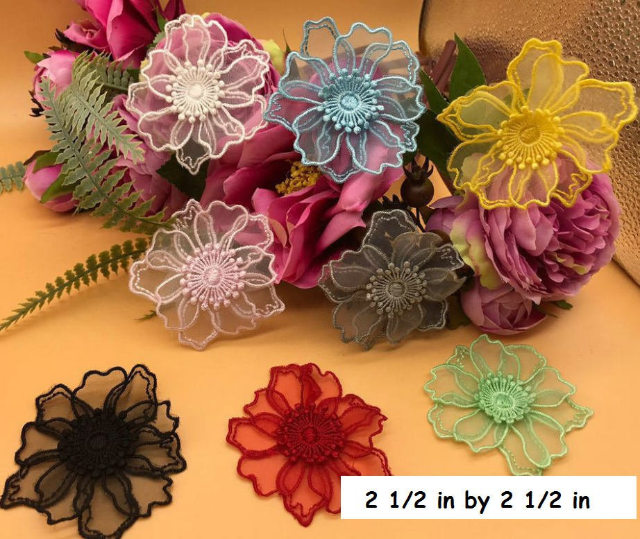 Flower lace applique/Floral Lace Applique/lace flower applique, priced by pair/LA-54