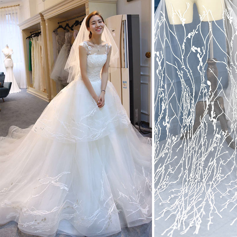 Off-White Lace Wedding Dress Fabric/Luxury Evening Dress Fabric with Plants Embroidered/Unique Bridal Lace Fabric/FL-38