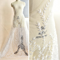 Off-White Lace Fabric/Lace Wedding Dress/Boho Wedding Dress/Boho Dress/FL-46
