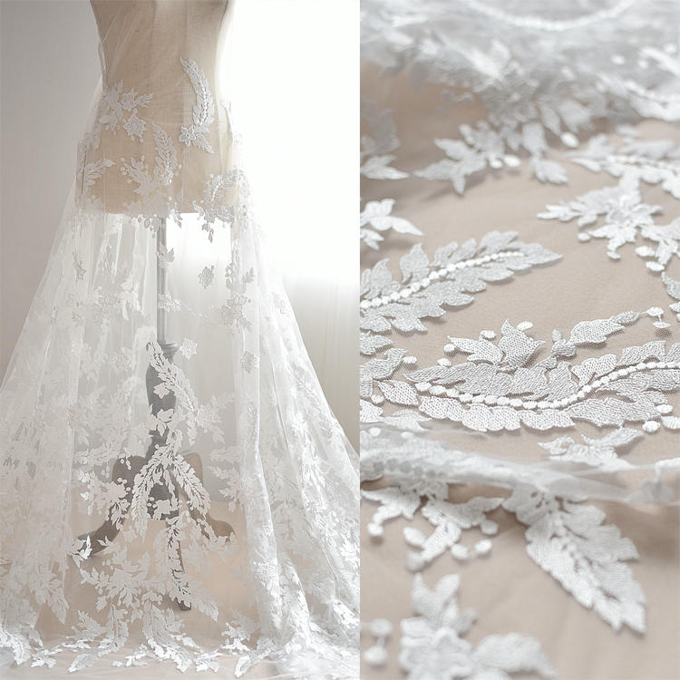 Off White Bridal Lace Fabric With Floral Embroideryprom Dress