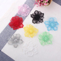 Flower lace applique/Cute Patches/Floral Lace Applique/Lace Patch, two layers lace flower applique, priced by pair  LA-54