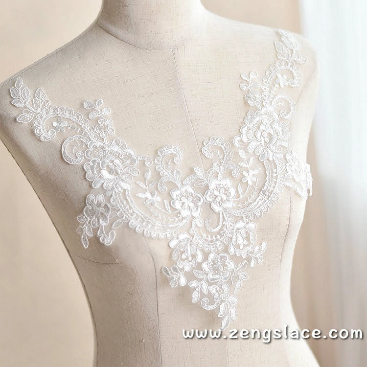 Bridal Lace Applique/Off-white Alencon Lace Applique/Boho Wedding Dress Applique/Prom Dress Applique/Luxury applique/ALA-22