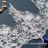 Ivory Alencon lace with floral embroidery/Bridal Lace Jacket Lace/Wedding Dress Lace/AL-24