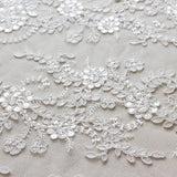 Off-White Sequin Lace Fabric/Floral Lace Fabric/Unique Bridal Lace with Sequin/Evening Dress/Wedding Dress Lace/Prom Dress Fabric/FL-81