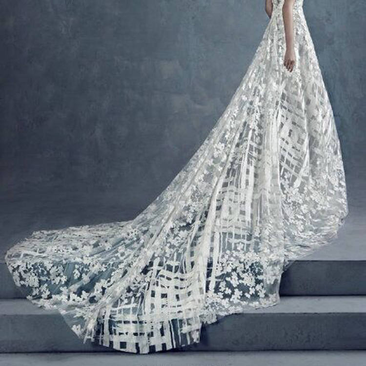 Off-White Lace Fabric/Unique Bridal Lace/Evening Dress/Lace Wedding Dress Fabric/FL-84