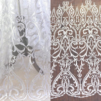 Off-White Bridal Lace Fabric Embroidered with Victorian Pattern/Unique Bridal Lace/Lace Wedding Dress/Evening Dress/Prom Dress Fabric/FL-55
