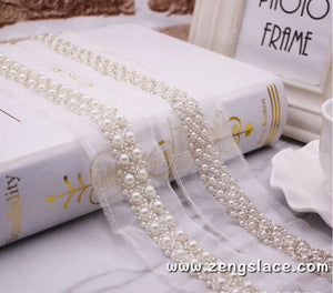 pearl beaded Trim/bridal sash trim/jewelry trim/pearl beading trim/luxury trim/heavy beading trim/beaded strip/DL-22