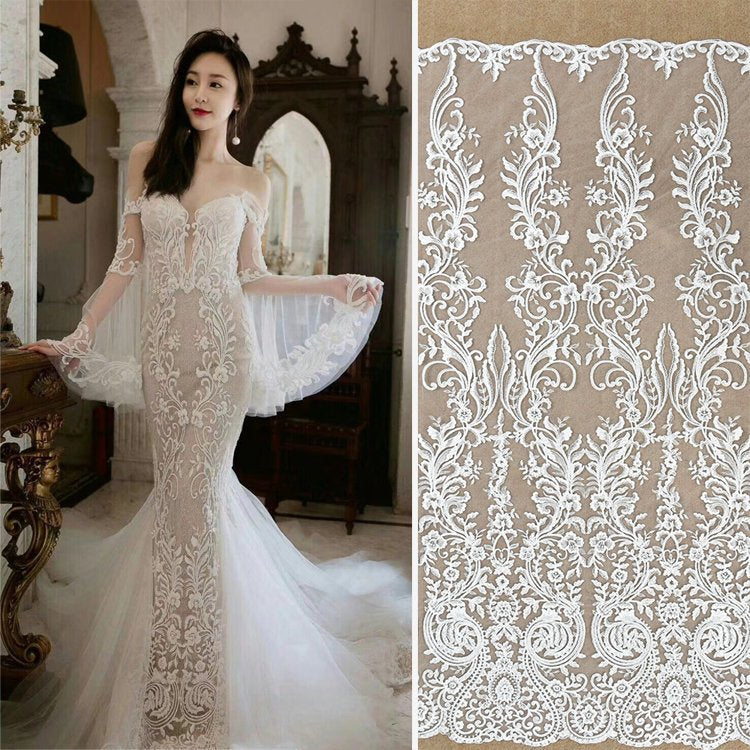 Off-White Sequin Lace Fabric/Unique Bridal Lace with Sequin/Wedding ...