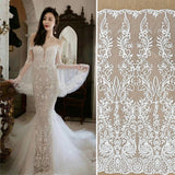 Off-White Sequin Lace Fabric/Unique Bridal Lace with Sequin/Wedding Dress Lace/FL-86