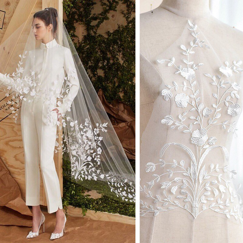 Bridal Lace Applique/Off-white Alencon Lace Applique/Boho Wedding Dress Applique/Prom Dress Applique/Luxury applique/ALA-73