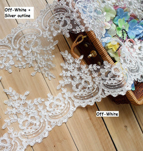Alencon lace trim/Lace Wedding Dress Lace Fabric/Lace Trim By the yard/AL-44