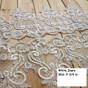 Alencon bridal trim with floral embroidery/Scalloped Lace/Wide Lace Trim by the yard, AL-33