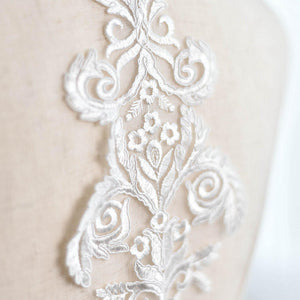 Bridal Lace Applique/Off-white Alencon Lace Applique/Boho Wedding Dress Applique/Prom Dress Applique/Luxury applique/ALA-78