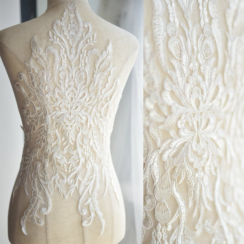 Off white Lace applique/Lace Wedding Dress/Bridal applique for 1 pc/ALA-89
