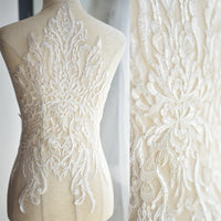 Bridal Lace Applique/Off-white Alencon Lace Applique/Boho Wedding Dress Applique/Prom Dress Applique/Luxury applique/ALA-89