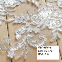 Off-white Alencon lace Applique/Bridal Applique/ALA-93