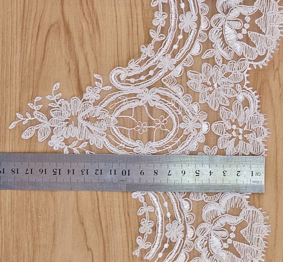 Alencon lace trim/Bridal Lace Jacket/Wedding Lace/Motif Lace/Wide Lace Trim by the yard, AL-62