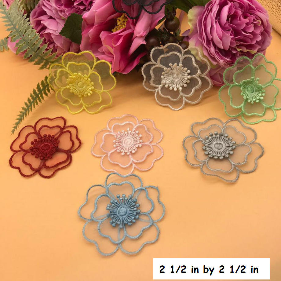 Flower lace applique/Floral Lace Applique/Lace Patch, two layers lace flower applique, priced by pair LA-53