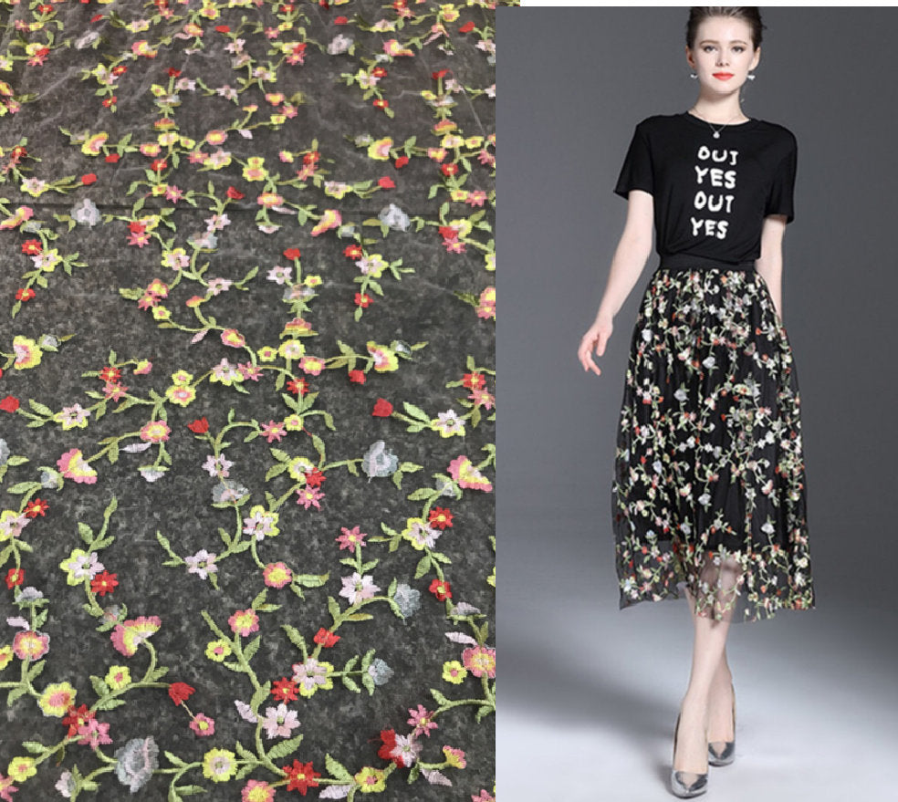 Floral Embroidery Lace Fabric/Prom Dress Lace Fabric/Evening Dress Fabric/FL-101