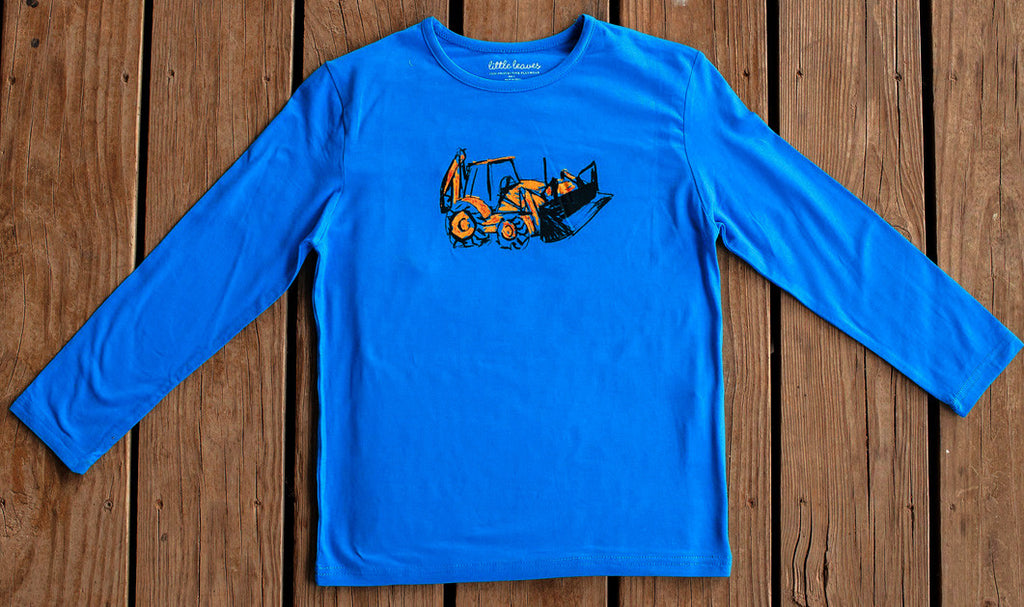 Boys Sun Protective Shirt-Truck Blue - Little Leaves Clothing Company