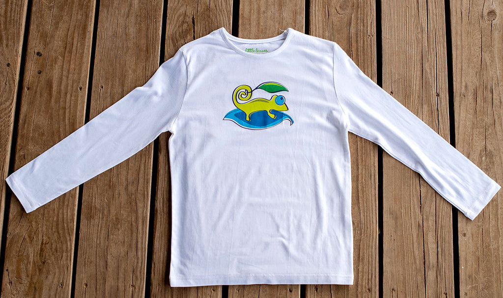 Boys Sun Protective Shirt-Chameleon White - Little Leaves Clothing Company