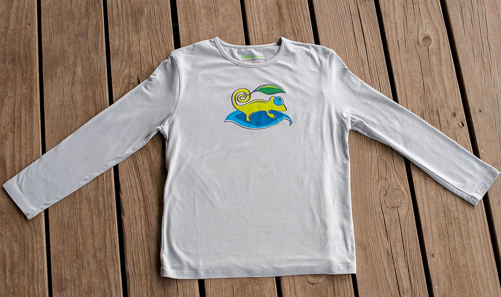 Boys Sun Protective Shirt-Chameleon Gray - Little Leaves Clothing Company