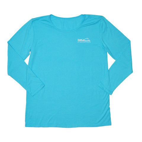 Womens Sun Protective Shirt-Graphic  Brilliant Cerulean Blue